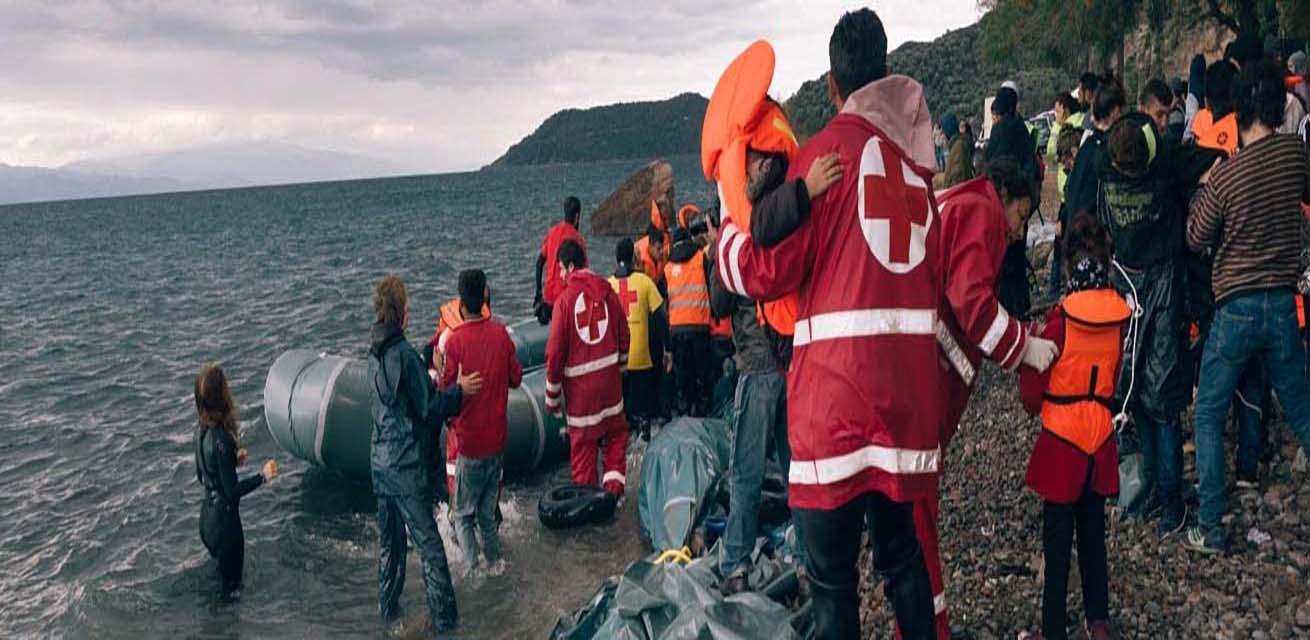 Migranten komen aan in Griekenland