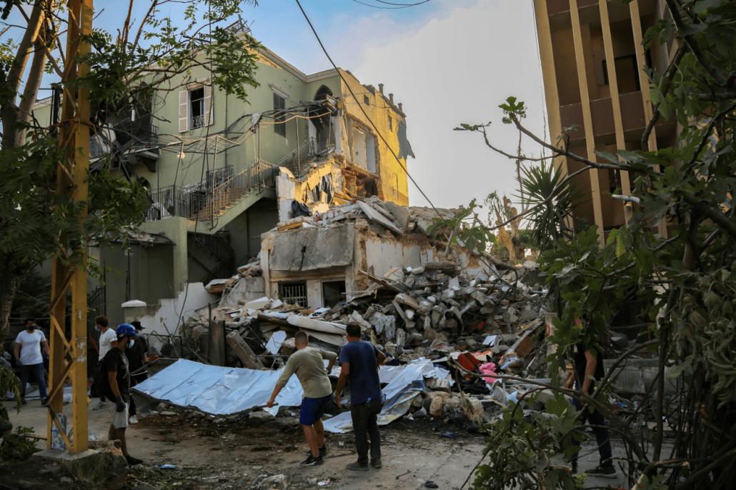 ingestorte bouwwerken Beiroet